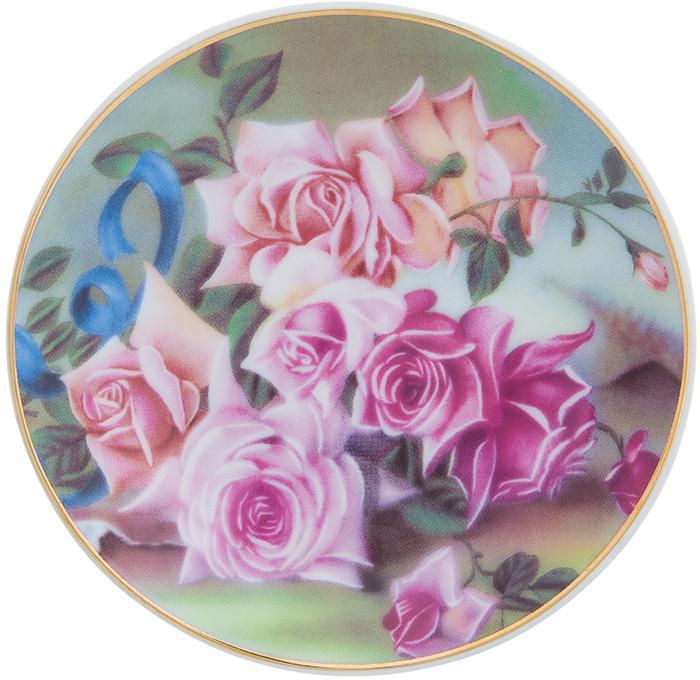 Тарелка декоративная Elan Gallery Розы, с подставкой, цвет: темно-зеленый, диаметр 10 см504185Декоративная тарелка станет не только замечательным украшением в традиционном стиле, но и памятным подарком на любой праздник!