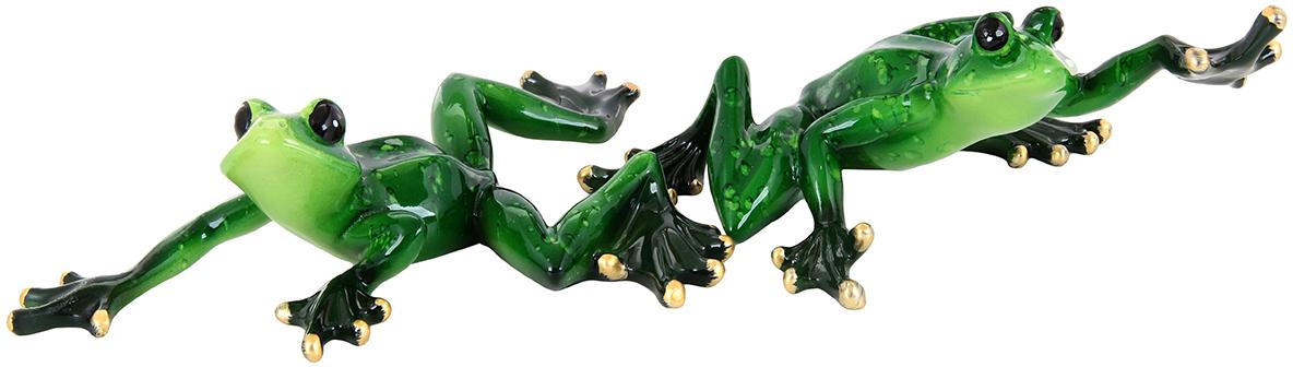Фигурка декоративная Elan Gallery Лягушки-гимнастки, цвет: зеленый, 16 х 8 см, 2 предмета870004Декоративные фигурки в виде забавных лягушат, изготовленные из полистоуна, станут необычным аксессуаром для вашего интерьера. Эти очаровательные вещицы станут отличным подарком Вашим друзьям и близким.