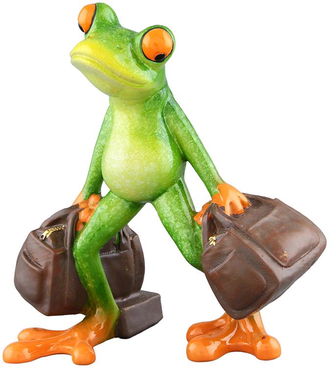 Фигурка декоративная Elan Gallery Лягушка-турист, цвет: зеленый, 11,7 х 7,5 х 13,5 см фигурки elan gallery фигурка декоративная кот почтальон