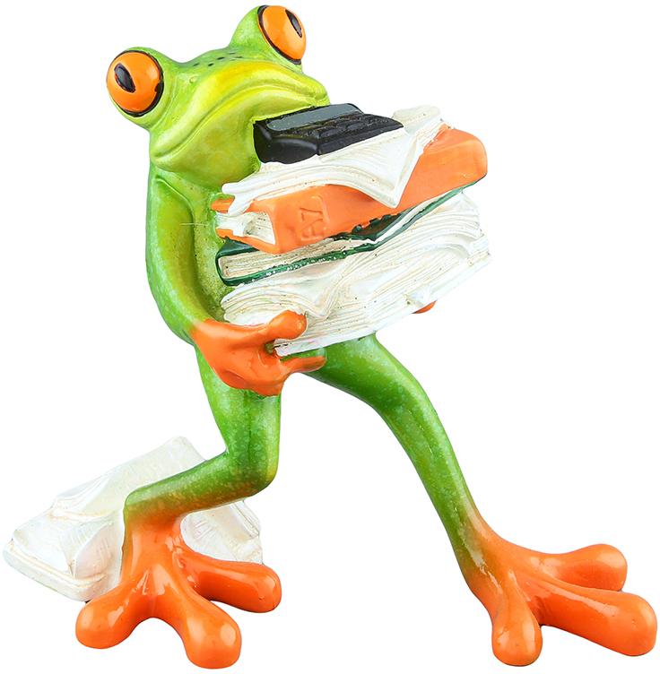 Фигурка декоративная Elan Gallery Лягушка-бухгалтер, цвет: зеленый, 13 х 7,5 х 11,5 см фигурки elan gallery фигурка декоративная кот почтальон