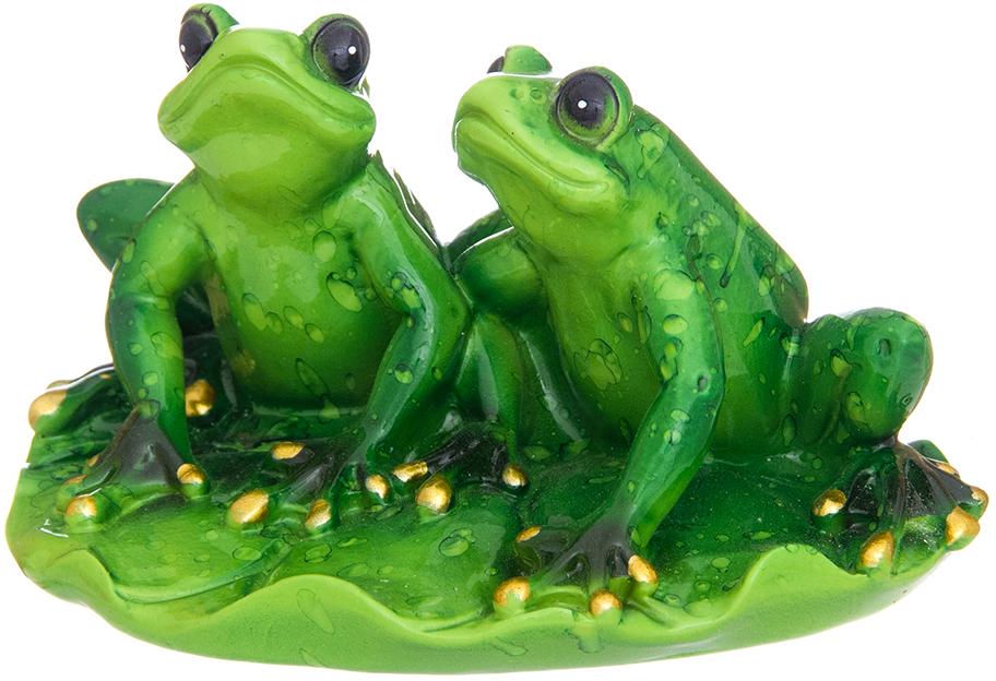 Фигурка декоративная Elan Gallery Лягушки на лотосе, цвет: зеленый, 11,2 х 9 х 6 см фигурки elan gallery фигурка декоративная кот почтальон