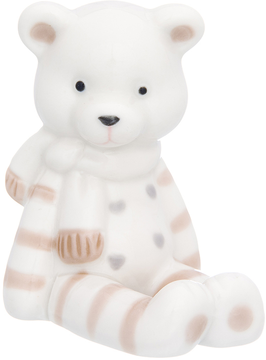 Фигурка декоративная Elan Gallery Медвежонок в шарфике, цвет: белый, 6 х 8 х 9 см870226Уют складывается из мелочей! Декоративные фигурки - это отличный способ разнообразить внутреннее убранство вашего дома.
