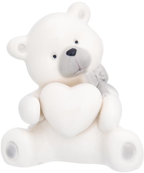 Фигурка декоративная Elan Gallery Медвежонок с сердечком и с бантиком, цвет: белый, 7,5 х 6 х 8,5 см870227Уют складывается из мелочей! Декоративные фигурки - это отличный способ разнообразить внутреннее убранство вашего дома.