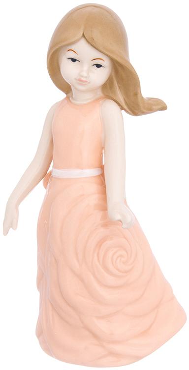 Фигурка декоративная Elan Gallery Девочка в коралловом платье, цвет: коралловый, 10 х 8 х 19,5 см870232Изящная фарфоровая статуэтка в классическом стиле украсит ваш дом, а также станет идеальным подарком для дам.