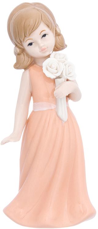 Фигурка декоративная Elan Gallery Девочка в коралловом платье с букетом, цвет: коралловый, 7 х 6 х 16,5 см870233Изящная фарфоровая статуэтка в классическом стиле украсит ваш дом, а также станет идеальным подарком для дам.
