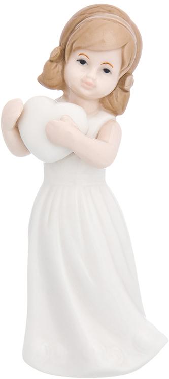 Фигурка декоративная Elan Gallery Девочка в белом платье с сердцем, цвет: белый, 4,3 х 5 х 12 см870236Изящная фарфоровая статуэтка в классическом стиле украсит ваш дом, а также станет идеальным подарком для дам.