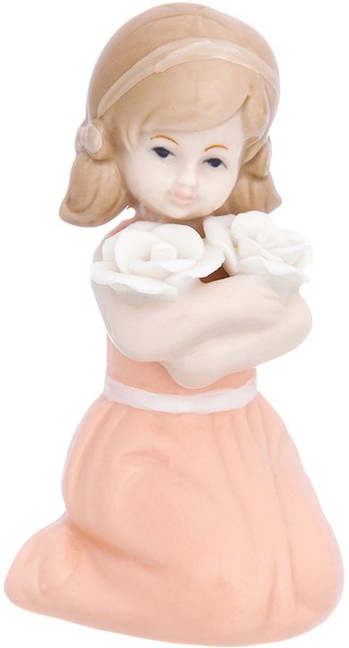 Фигурка декоративная Elan Gallery Девочка в коралловом платье с цветами, 5,7 х 5 х 12,5 см elan gallery статуэтка японка желтое кимоно с веером