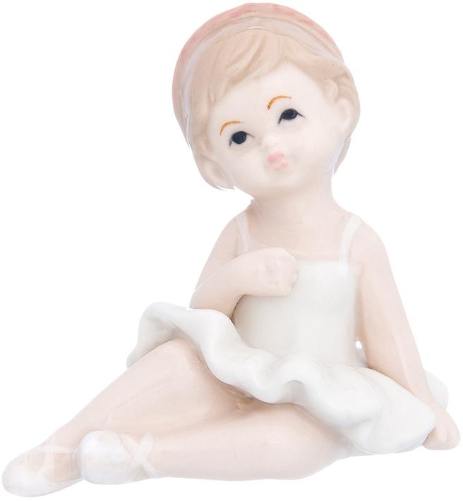 Фигурка декоративная Elan Gallery Девочка балерина в белом платье, цвет: белый, 8 х 6,6 х 7,5 см фигурка декоративная elan gallery девочка балерина в розовом платье цвет розовый 6 х 7 8 х 7 см
