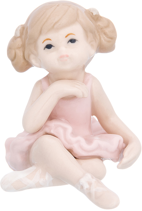 "Фигурка декоративная Elan Gallery ""Девочка балерина в розовом платье"", цвет: розовый, 6 х 7,8 х 7 см"