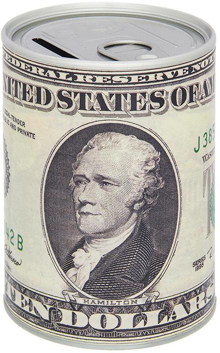 Копилка Elan Gallery Доллар, цвет: серый, 7,6 х 7,6 х 11 см980032Оригинальная копилка банка Доллар выполнена из металла в виде металлической банки. Сверху имеется прорезь для монет. Накопленные деньги можно достать, открыв крышку.Такая копилка станет отличным подарком с пожеланием финансового благополучия и успехов в бизнесе.