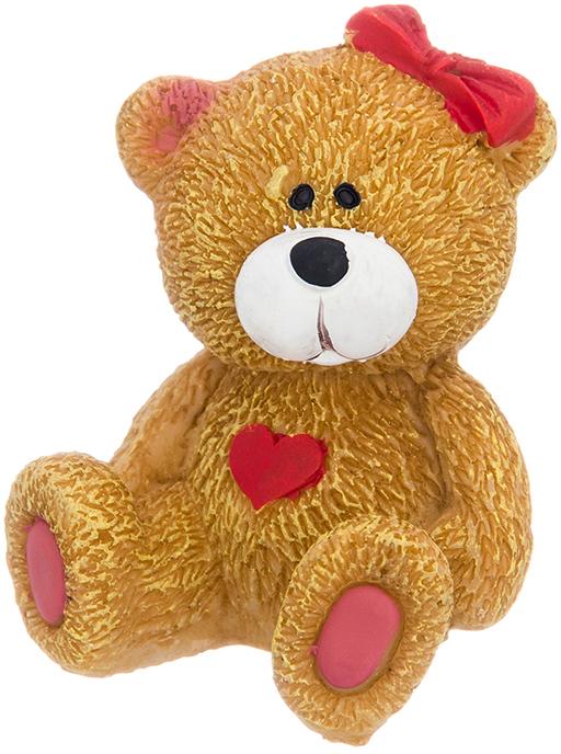 Фигурка декоративная Elan Gallery Медвежонок с бантиком, цвет: коричневый, 5 х 4,6 х 5,8 см