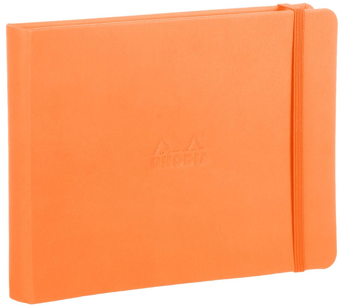 Блокнот Clairefontaine Rhodia, без разметки, формат A5, цвет обложки: оранжевый, 96 листов118178СОчаровательный блокнот в твердом переплете Clairefontaine Rhodia не позволит потеряться ни одной идее в потоке событий и станет прекрасным подарком для любителей оригинальных вещей. Яркая обложка выполнена изплотного картона. Дополнительный штрих - аккуратные скругленные уголки. Внутренний блок выполнен из плотной бумаги цвета слоновой кости. Блокнот плотно закрывается при помощи фиксирующей резинки.Характеристики: Материал: картон, бумага, текстиль. Формат: А5 (14,8 х 21 см). Цвет: оранжевый.