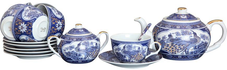 Чайный набор Elan Gallery Павлин синий + ложки, 14 предметов, 250 мл180691Чайный набор - это отличный подарок, подходящий для любого повода. Принесет в ваш дом красоту и уют душевных чаепитий! Благодаря красивому утонченному дизайну и качеству исполнения он станет хорошим подарком друзьям и близким.
