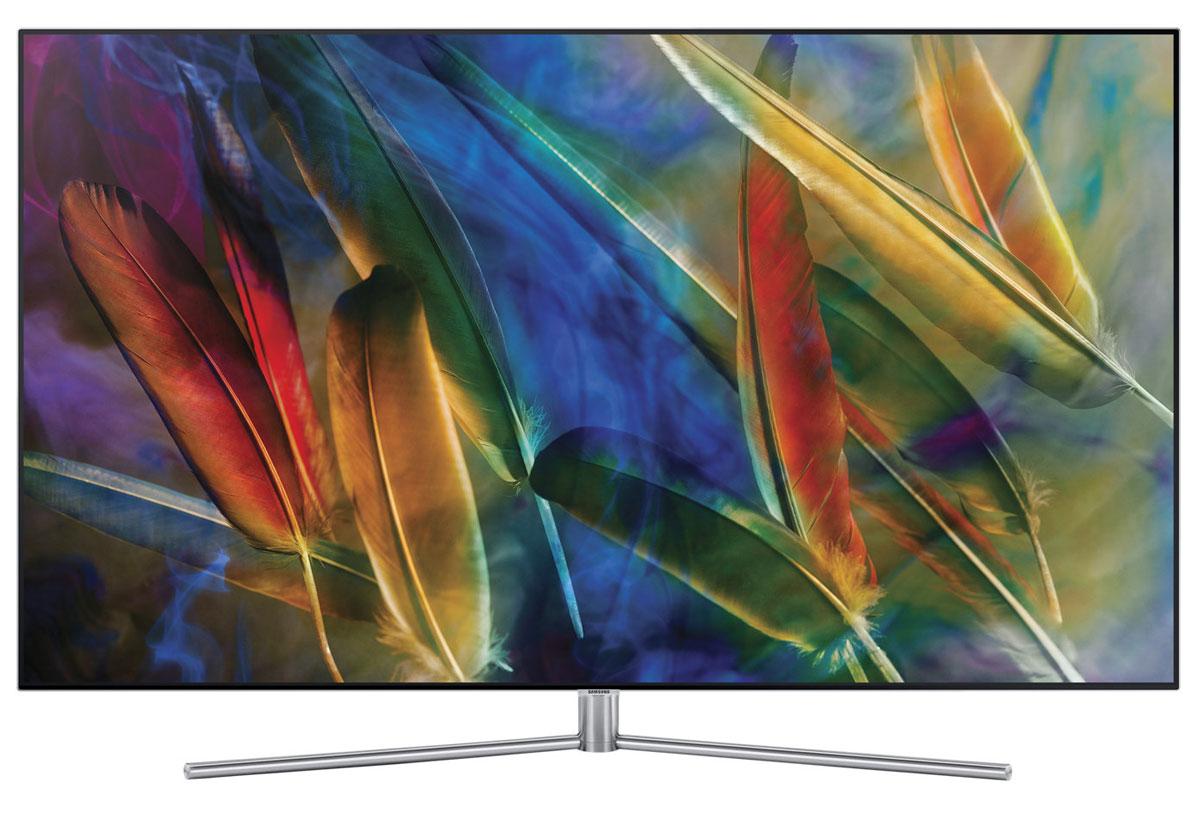 Samsung QE55Q7FAMUX телевизорQE-55Q7FAMUXQLED телевизор Samsung QE55Q7FAMUX с технологией квантовых точек. Благодаря материалу изинновационного сплава технология квантовых точек обеспечивает идеальную цветопередачу ифантастические впечатления от просмотра.Откройте новую вселенную цвета, которая изменит ваше представление о телевизорах. Диапазон цветовойпалитры телевизора Samsung QE55Q7FAMUX потрясающе широк - окунитесь в реальный мир цвета на экране.Телевизор Samsung QE55Q7FAMUX воспроизводит невероятно глубокий черный и яркий белый цвета.Насладитесь мельчайшими деталями в самых ярких и темных участках каждой сцены на экране в любое времясуток и независимо от уровня внешней освещенности.Вы увидите невозможное благодаря технологии расширения динамического диапазона Q HDR 1500 -изображение глазами режиссера и мельчайшие детали объектов, скрытых в самых темных и светлых фрагментахизображения.Забудьте о проблеме искажения цвета. Яркие цвета останутся такими же яркими при просмотре телевизораSamsung QE55Q7FAMUX под любым углом. Благодаря расширенным углам обзора вы получите удовольствие отпросмотра при любом местоположении относительно экрана.Превосходное качество изображения благодаря более мощному процессору телевизора SamsungQE55Q7FAMUX. Невероятно быстрый процессор анализирует контент и обеспечивает максимально высокоекачество изображения.Перед вами воплощение элегантного минимализма и современного дизайна. Телевизор SamsungQE55Q7FAMUX с гладкой текстурой задней панели и без спутанных видимых проводов - это изысканныйпредмет интерьера, независимо от того, установлен он на подставке или висит стене.Настенный кронштейн для телевизора Samsung QE55Q7FAMUX позволяет фиксировать его на стенепрактически без зазора. Благодаря такому креплению, телевизор великолепно смотрится со всех сторон игармонично вписывается в интерьер вашей комнаты.Дизайн без рамок - впечатления без границ. Отсутствие рамки со всех 4 сторон формирует эффект полногопогружения. Любые сюжеты оживают перед