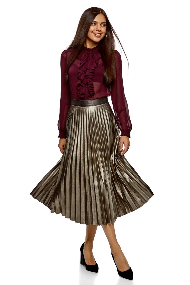 Блузка женская oodji Ultra, цвет: бордовый. 11411183/15036/4903N. Размер 38 (44-170)11411183/15036/4903NСтильная женская блузка выполнена из полупрозрачного текстиля. Модель с воротником-стойкой, оформленным рюшей и длинными рукавами, застегивается на пуговицы.