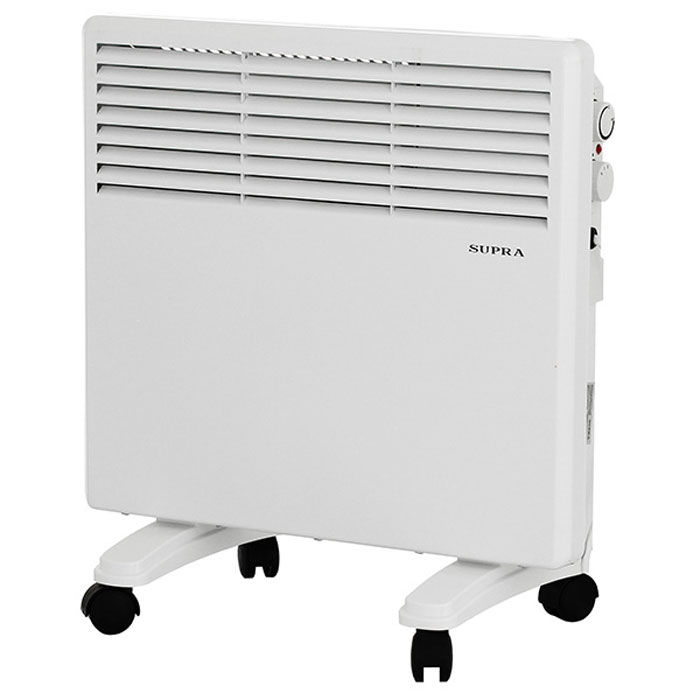 Supra ECS-410, White обогревательECS-410 whiteSupra ECS-410 - это электрический обогреватель конвективного типа.Холодный воздух, проходя через прибор и его нагревательный элемент, нагревается и выходит сквозь решетки-жалюзи, незамедлительно начиная обогревать помещение. Вся конструкция Supra ECS-410 направлена на равномерное распределение тепла для обогрева с максимальным комфортом. Бесшумная работа.В комплектемонтажная планка для настенного крепления иколёсики для напольного размещения и удобного перемещения.Как выбрать обогреватель. Статья OZON Гид