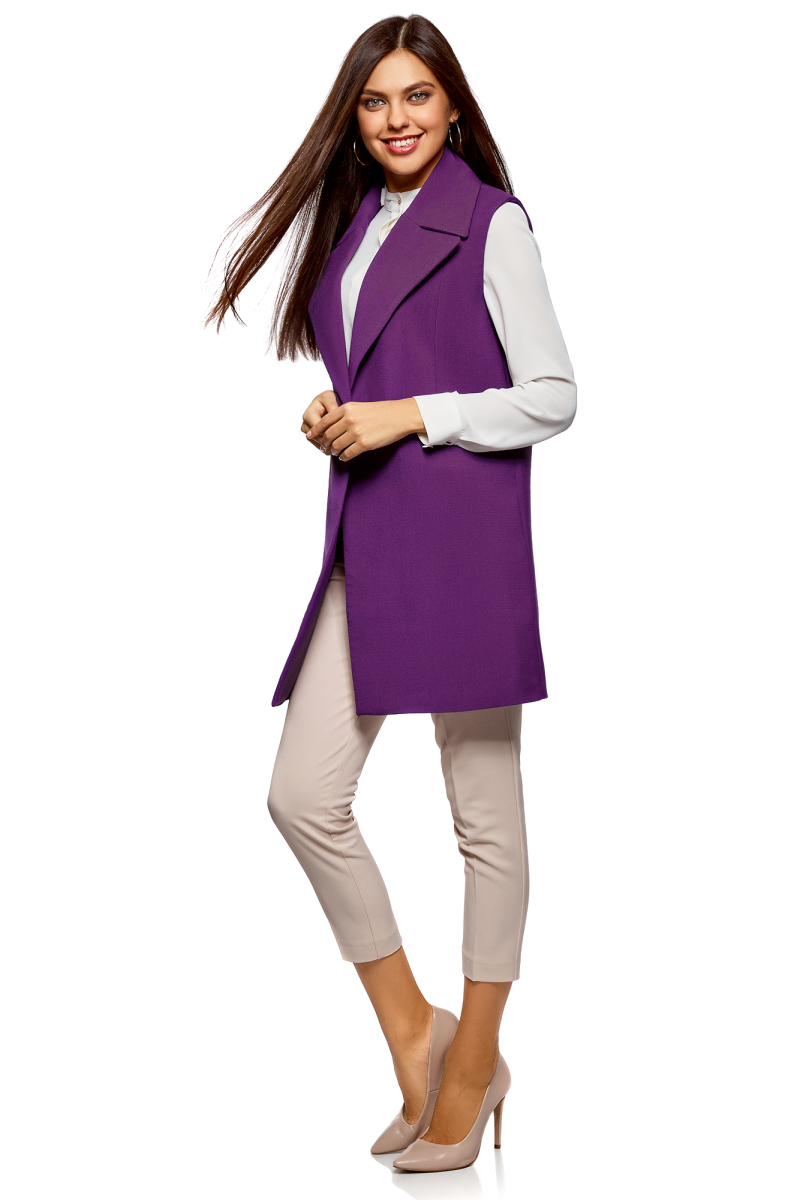 Жилет женский oodji Collection, цвет: фиолетовый. 22305003/38095/8300N. Размер 40 (46-170) пуловеры oodji пуловер