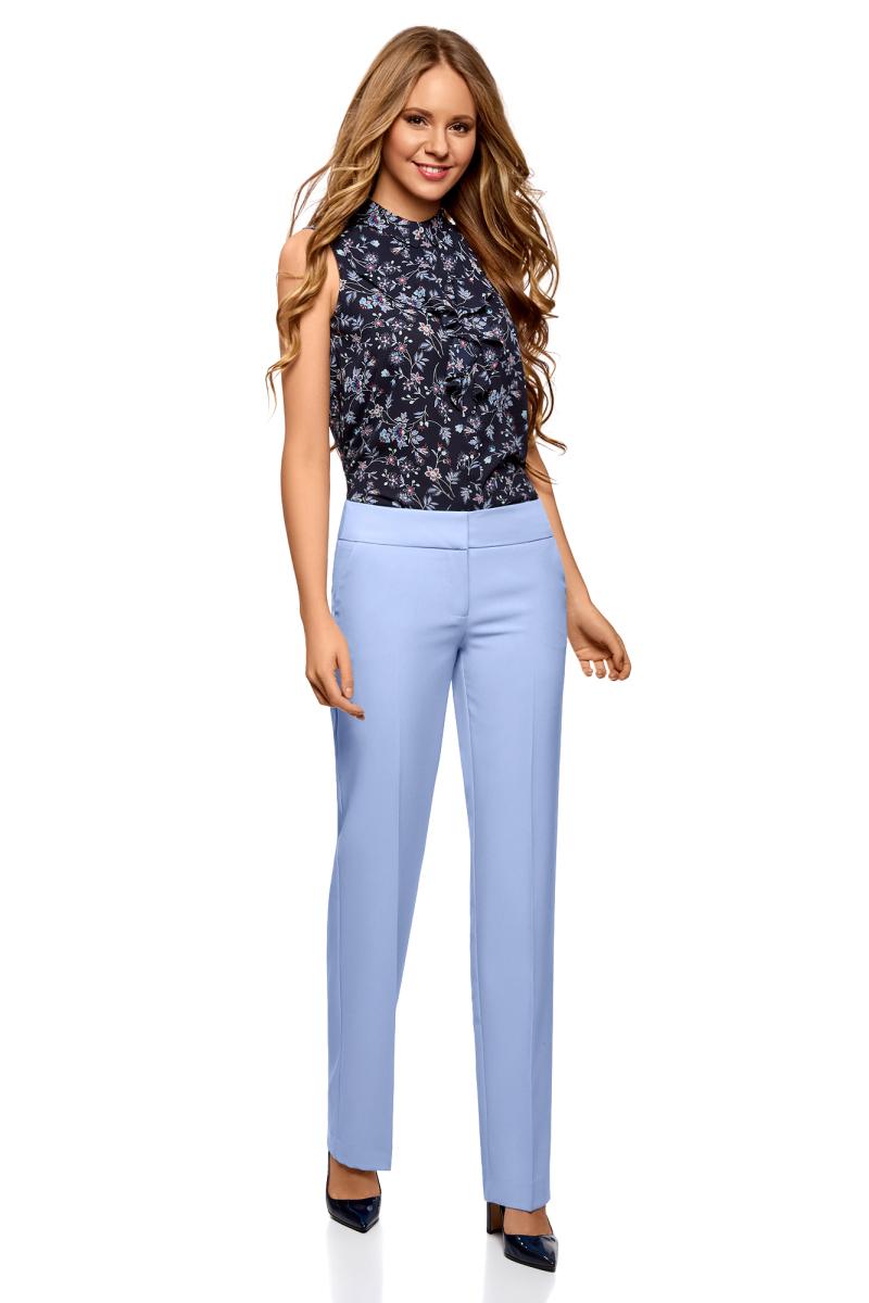 все цены на Брюки женские oodji Ultra, цвет: голубой. 11700214-1B/14917/7501N. Размер 42 (48-170) онлайн