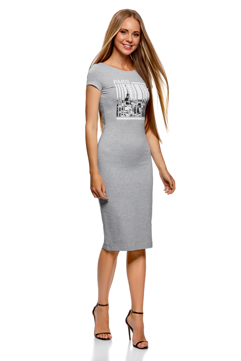 Платье oodji Collection, цвет: светло-серый. 24001104-7/47420/2010Z. Размер XS (42)24001104-7/47420/2010ZТрикотажное платье от oodji с глубоким вырезом на спине выполнено из эластичного хлопка. Модель облегающего кроя с короткими рукавами и круглым вырезом горловины на груди оформлена принтом.
