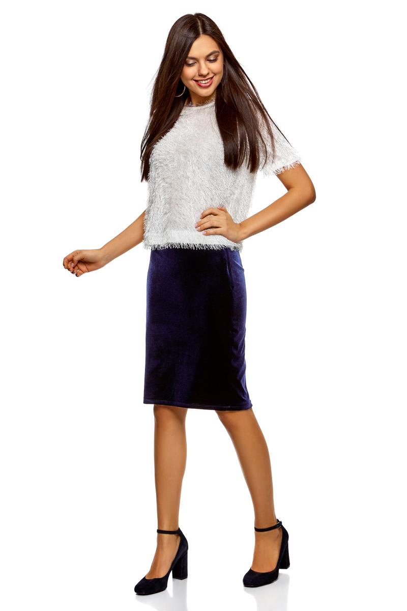 Юбка oodji Collection, цвет: темно-синий. 24101048-2/46056/7902N. Размер M (46)24101048-2/46056/7902NСтильная юбка, выполненная из бархатистого материала, станет отличным дополнением вашего гардероба. Модель прилегающего кроя с эластичной резинкой в поясе.
