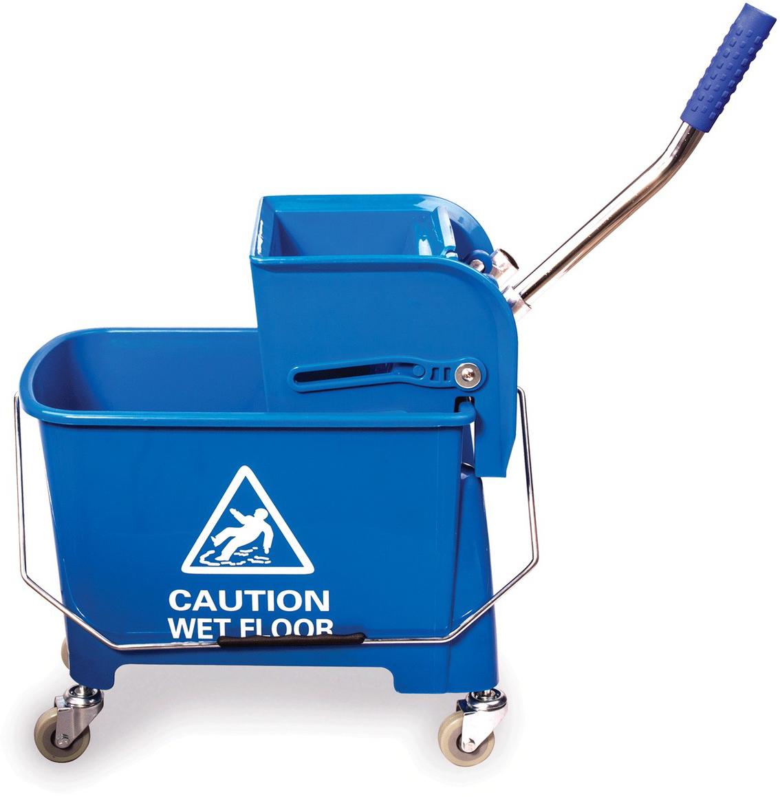 Тележка для уборки Лайма Проф, с механическим отжимом, цвет: синий601497Тележка-ведро уборочная предназначена для проведения влажной уборки в небольших помещениях. Представляет собой ведро с двумя отделениями и установленным сверху механическим отжимом. Изготовлена из прочного пластика.