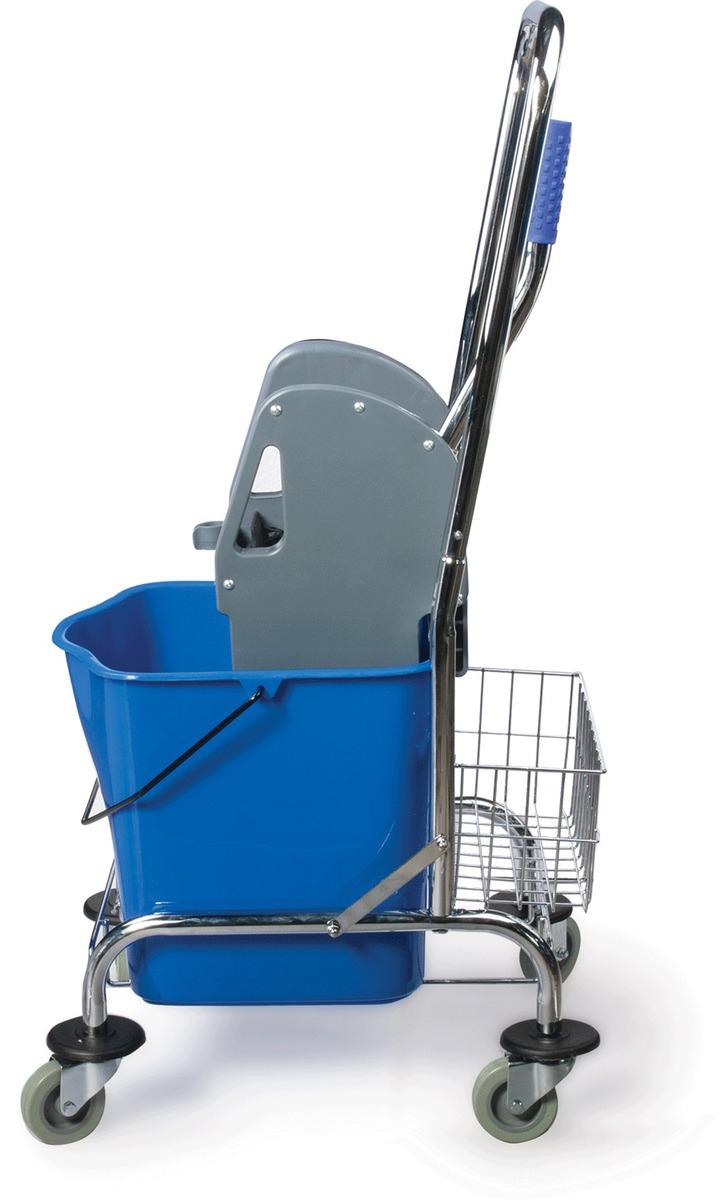 Тележка для уборки Лайма Проф, цвет: синий, 601498601498Уборочная тележка предназначена для проведения влажной уборки. Представляет собой ведро с механическим отжимом, установленное на металлической основе. Тележка оснащена корзиной для бытовой химии и удобной ручкой для перемещения.
