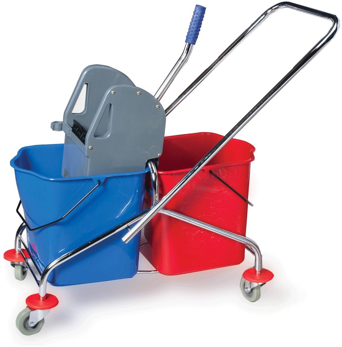 Тележка для уборки Лайма Проф. 601499601499Уборочная тележка предназначена для проведения влажной уборки в помещениях. Представляет собой металлический каркас с установленными на него двумя ведрами и механическим отжимом. Оснащена перекидной ручкой.