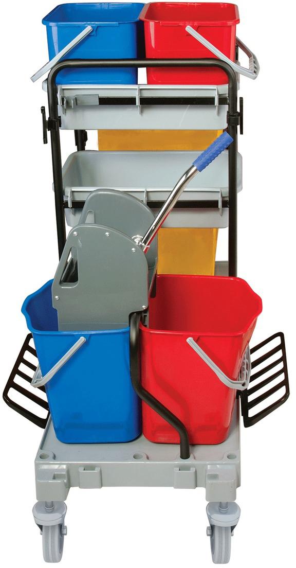Тележка для уборки Лайма Проф. 601501601242Многофункциональная тележка Лайма предназначена для проведения комплексной уборки в помещениях. Оснащена четырьмя ведрами, механическим отжимом, мешком многоразового использования, держателями для МОПов и швабр.