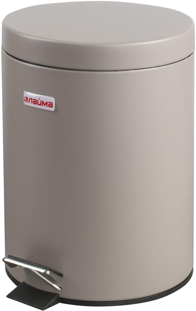 Ведро-контейнер для мусора Лайма, с педалью, цвет: серый, 5 л ведро контейнер для мусора лайма classic с педалью цвет серебристый 30 л