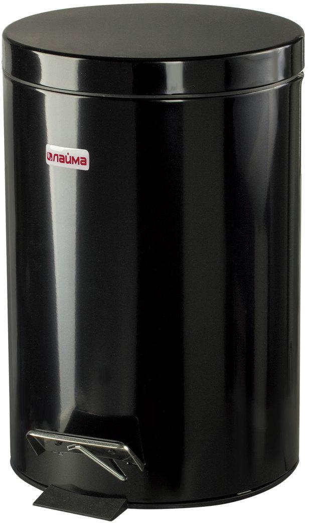 Ведро-контейнер для мусора Лайма,  педалью, цвет: черный, 12