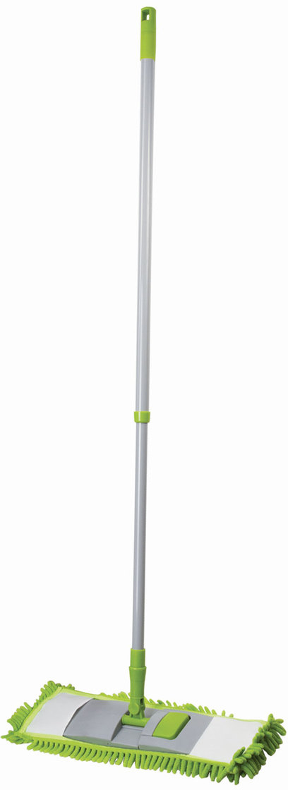 Швабра Любаша, с насадкой Моп,  телескопической ручкой, для сухой уборки, цвет: зеленый