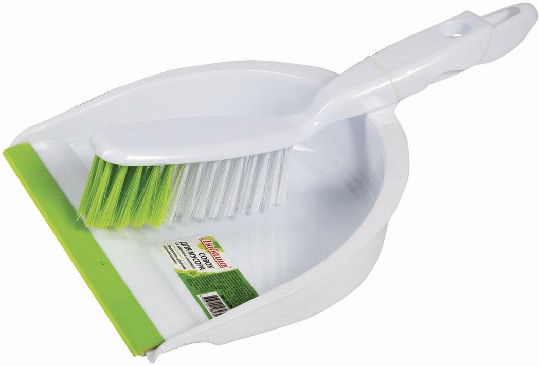 Набор для уборки Любаша, цвет: белый, 2 предмета. 603615603615Совок со щеткой-сметкой Любаша изготовлен из качественного пластика. Набор позволяет собрать даже самый мелкий мусор благодаря резиновой кромке на совке и густой щетине щетки. Компактный набор, удобный и легкий.