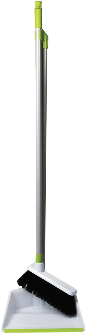 Набор для уборки Любаша, цвет: белый, 2 предмета. 603616603616Совок и щетка на длинных ручках Любаша изготовлены из качественных материалов. Щетка надежно крепится к совку. Резиновая кромка, густая щетина оптимальной жесткости облегчают сбор мелкого мусора.