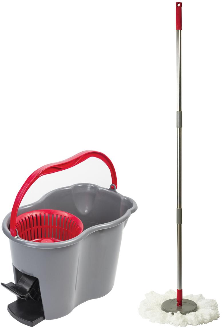 Набор для уборки Лайма, цвет: серый, 4 предмета603622Набор Лайма предназначен для проведения влажной уборки. Изделия выполнены из пластика и стали. В набор входят: ведро с системой отжима, швабра с круглой насадкой из микрофибры и запасная насадка. Отжим осуществляется нажатием педали, что позволяет избежать контакта рук с водой.