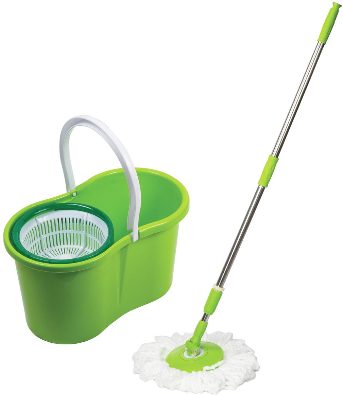 Набор для уборки Лайма, цвет: зеленый, 4 предмета603624Набор Лайма предназначен для проведения влажной уборки. В набор входят: ведро с системой отжима, швабра с круглой насадкой из микрофибры и запасная насадка. Отжим осуществляется нажатием ручки по направлению вниз.
