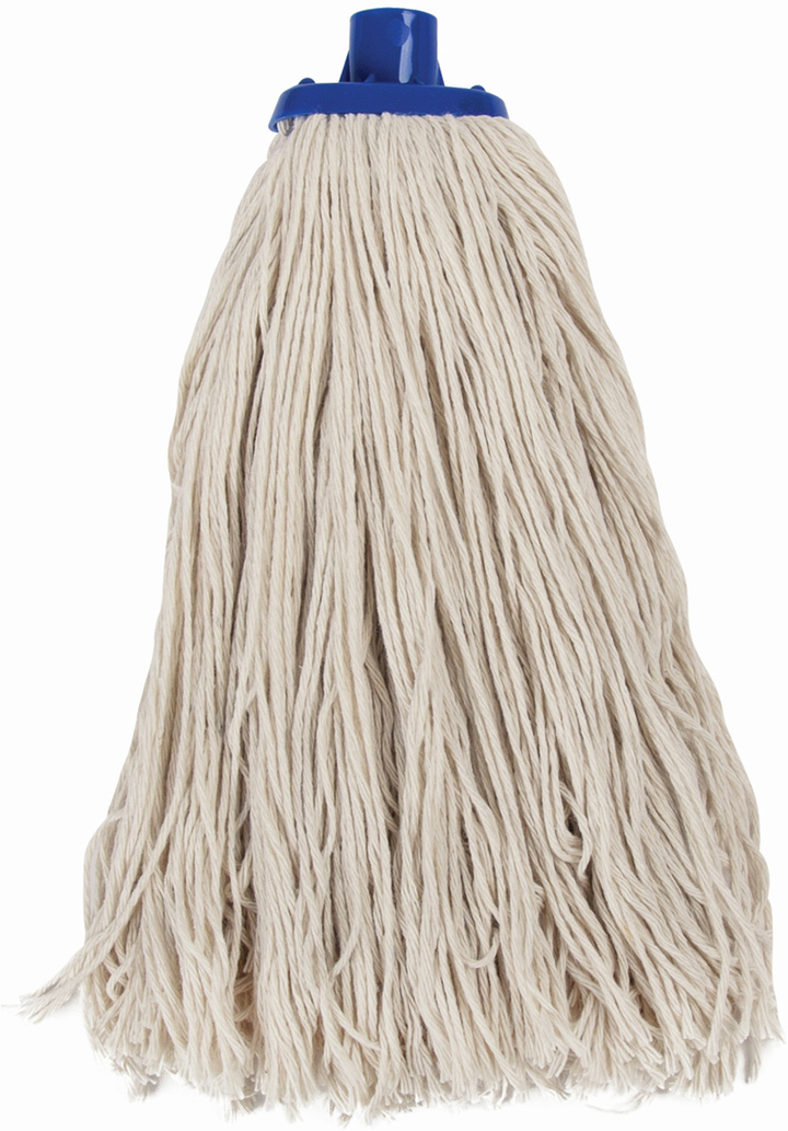 Насадка для швабры Лайма Моп, веревочная, для влажной уборки, цвет: бежевый, синий, 28 см