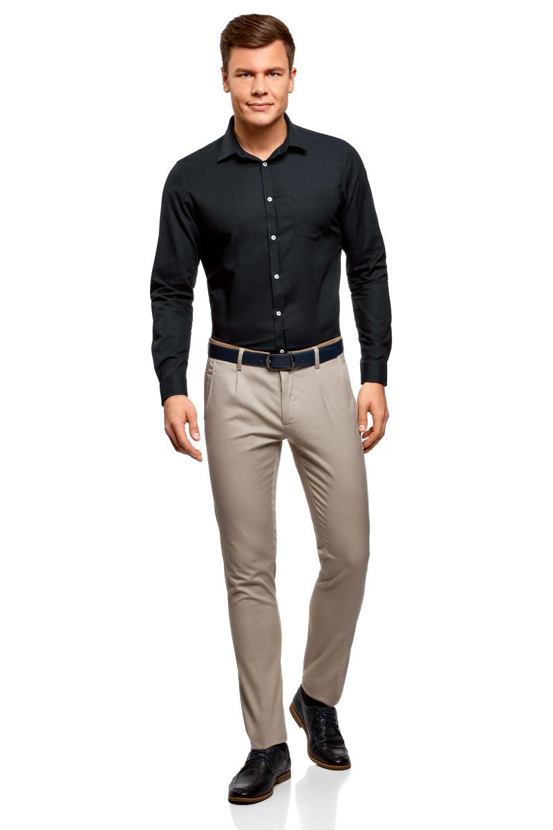 Рубашка мужская oodji Basic, цвет: темно-синий. 3B110007M/34714N/7900O. Размер 40 (48-182)3B110007M/34714N/7900OМужская рубашка oodji, выполненная из натурального хлопка, застегивается на пуговицы. Модель приталенного силуэта с длинными рукавами, закругленным низом и отложным воротничком баттен-даун имеет слева на груди карман. Воротник с пуговицами на углах придает рубашке элегантности. Натуральный хлопок приятен на ощупь, не раздражает кожу, дышит.