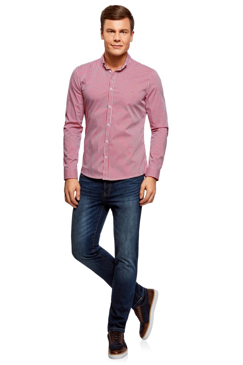 Рубашка мужская oodji Basic, цвет: белый, красный. 3B140003M/39767N/1045C. Размер 37 (42-182)3B140003M/39767N/1045CМужская рубашка oodji Basic выполнена из хлопка с добавлением полиамида и эластана. Рубашка с длинными рукавами и отложным воротником застегивается на пуговицы спереди. Манжеты рукавов также застегиваются на пуговицы. Рубашка оформлена принтом в мелкую клетку.