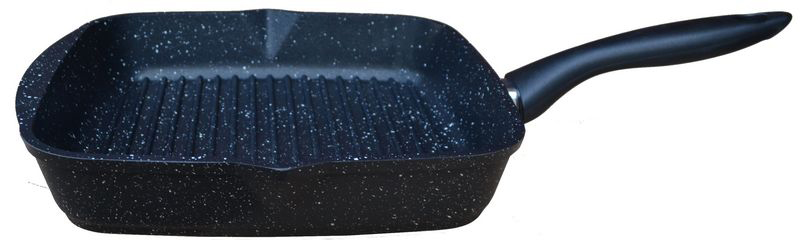 Сковорода-гриль Мечта Гранит, с антипригарным покрытием, цвет: черный, 26 х 26 см