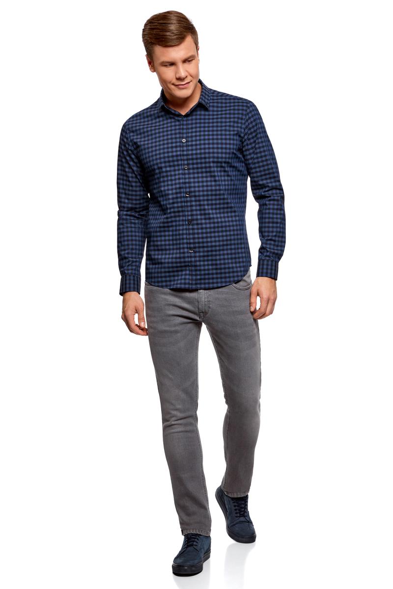 Рубашка мужская oodji Lab, цвет: синий, темно-синий. 3L110214M/39767N/7579C. Размер 43 (54-182)3L110214M/39767N/7579CМужская рубашка от oodji выполнена из качественного материала на основе хлопка. Модель приталенного кроя с длинными рукавамизастегивается на пуговицы.