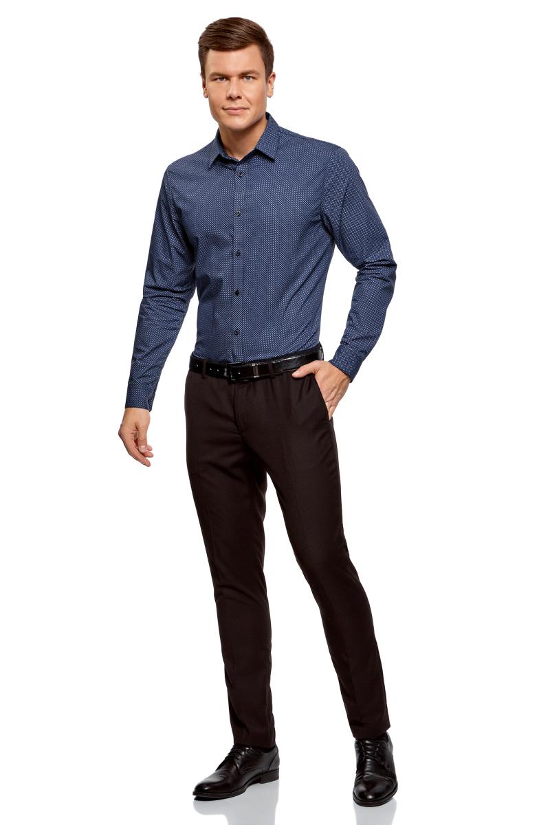 Рубашка мужская oodji Lab, цвет: темно-синий, синий. 3L110278M/19370N/7975G. Размер 39 (46-182)3L110278M/19370N/7975GРубашка от oodji выполнена из натурального хлопка в мелкую графику. Модель приталенного кроя с длинными рукавами и отложным воротником застегивается на пуговицы.
