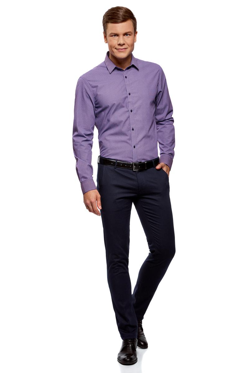 Рубашка мужская oodji Lab, цвет: фиолетовый, сиреневый. 3L110278M/19370N/8380G. Размер 42 (52-182)3L110278M/19370N/8380GРубашка от oodji выполнена из натурального хлопка в мелкую графику. Модель приталенного кроя с длинными рукавами и отложным воротником застегивается на пуговицы.