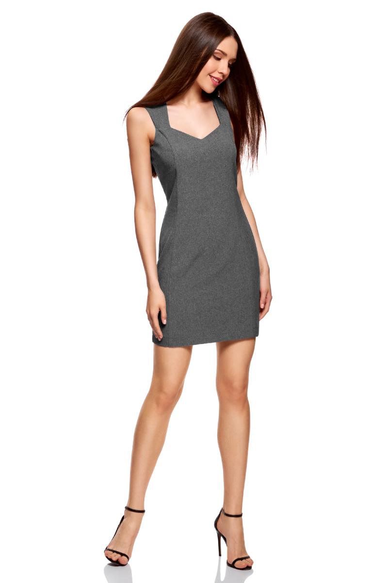 Платье oodji Ultra, цвет: темно-серый меланж. 12C02001B/14917/2500M. Размер 40 (46-170)12C02001B/14917/2500MСтильное платье oodji изготовлено из качественного плотного полиэстера. Приталенная модель выполнена с фигурным вырезом и без рукавов.