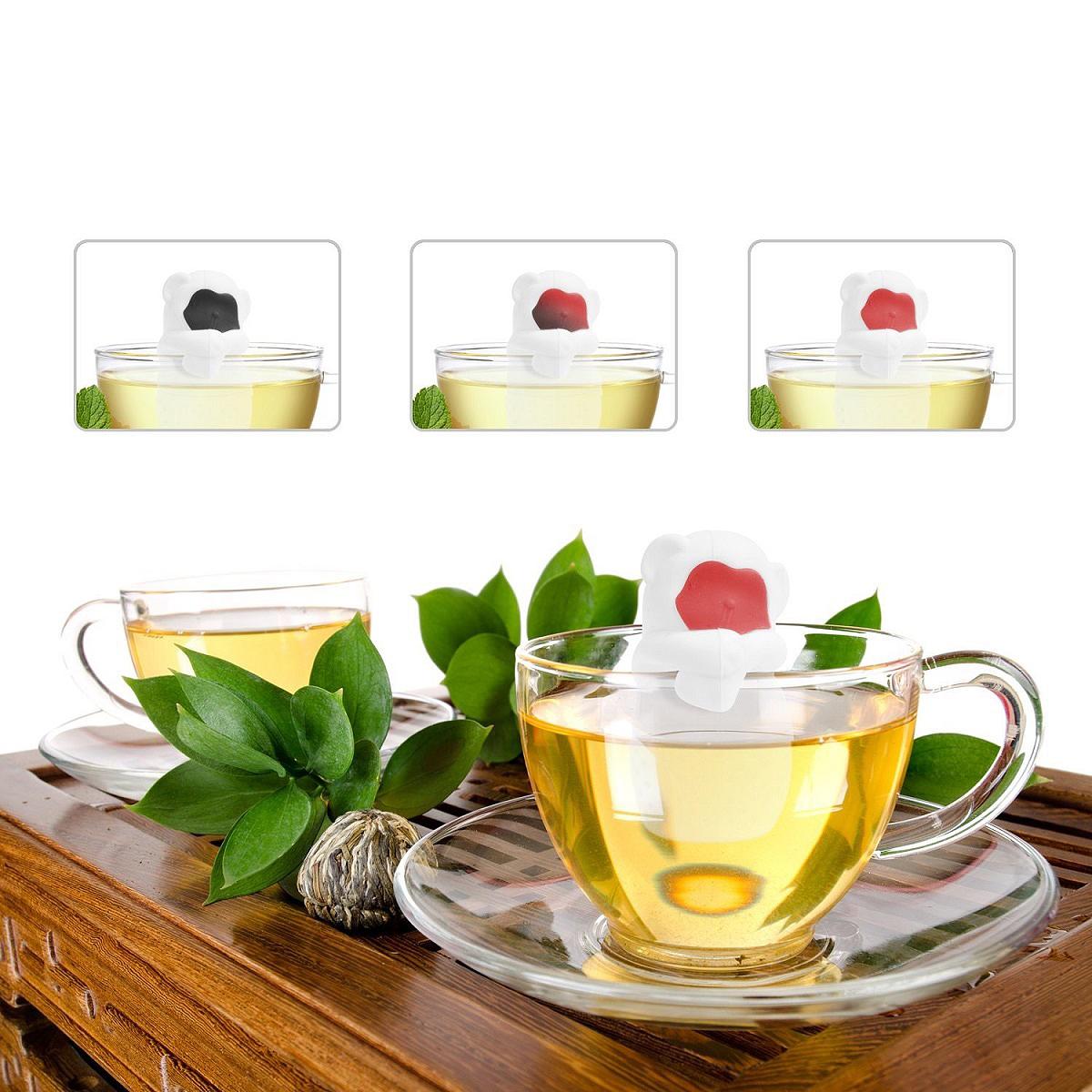 Ситечко для чая Fidget Go Обезьянка, с подставкой, цвет: белый, черный, 2 предмета