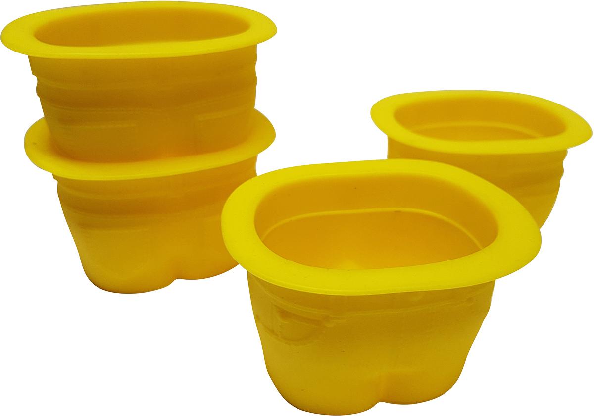 Набор форм для кексов FidgetGo Джинсы, цвет: желтый, 4 шт2212345678124В чем вы обычно выпекаете кексы? Неужели, в кексницах? Прошлый век! Сегодня вкусные и красивые кексы пекут в джинсах. Не пугайтесь, не нужно подвергать ваши любимые джинсы резке и шитью. Достаточно приобрести силиконовые формочки FidgetGo. Эти эксклюзивные формочки для выпечки выполнены в виде небольших джинсовых штанишек.Формочки изготовлены из высококачественного эластичного термоустойчивого силикона, выдерживающего температуру от -40°С до +230°С.