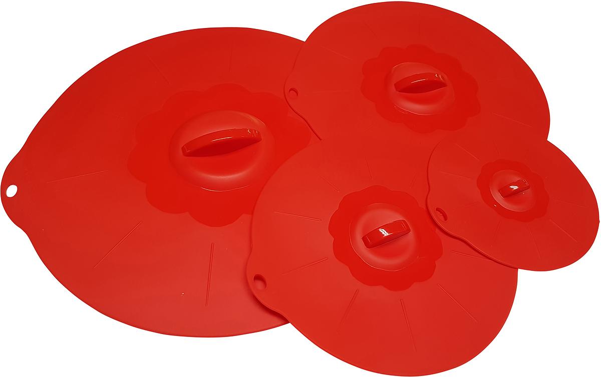 Набор крышек FidgetGo, силиконовые, цвет: красный, 4 шт2212345678136Силиконовые крышки для посуды разного размера герметично закроют сковороды, кастрюли, тарелки, салатники, баночки и стаканы диаметром от 13 до 30 см. Главное, чтобы у любой из вышеперечисленной посуды края были ровными, без сколов и носиков.Так же отлично с ними варить или тушить блюда на очень малом огне, достигается эффект русской печи. Моются легко, никаких замачиваний не требуют, достаточно использовать губку и моющее неабразивное средство или в посудомоечной машине. Они компактны и удобны при хранении.Силикон – инертный материал, который абсолютно безвреден для здоровья, выдерживает температуру от -40 до +230 градусов, поэтому подходит для варки и жарки, для выпечки, запекания и для замораживания.
