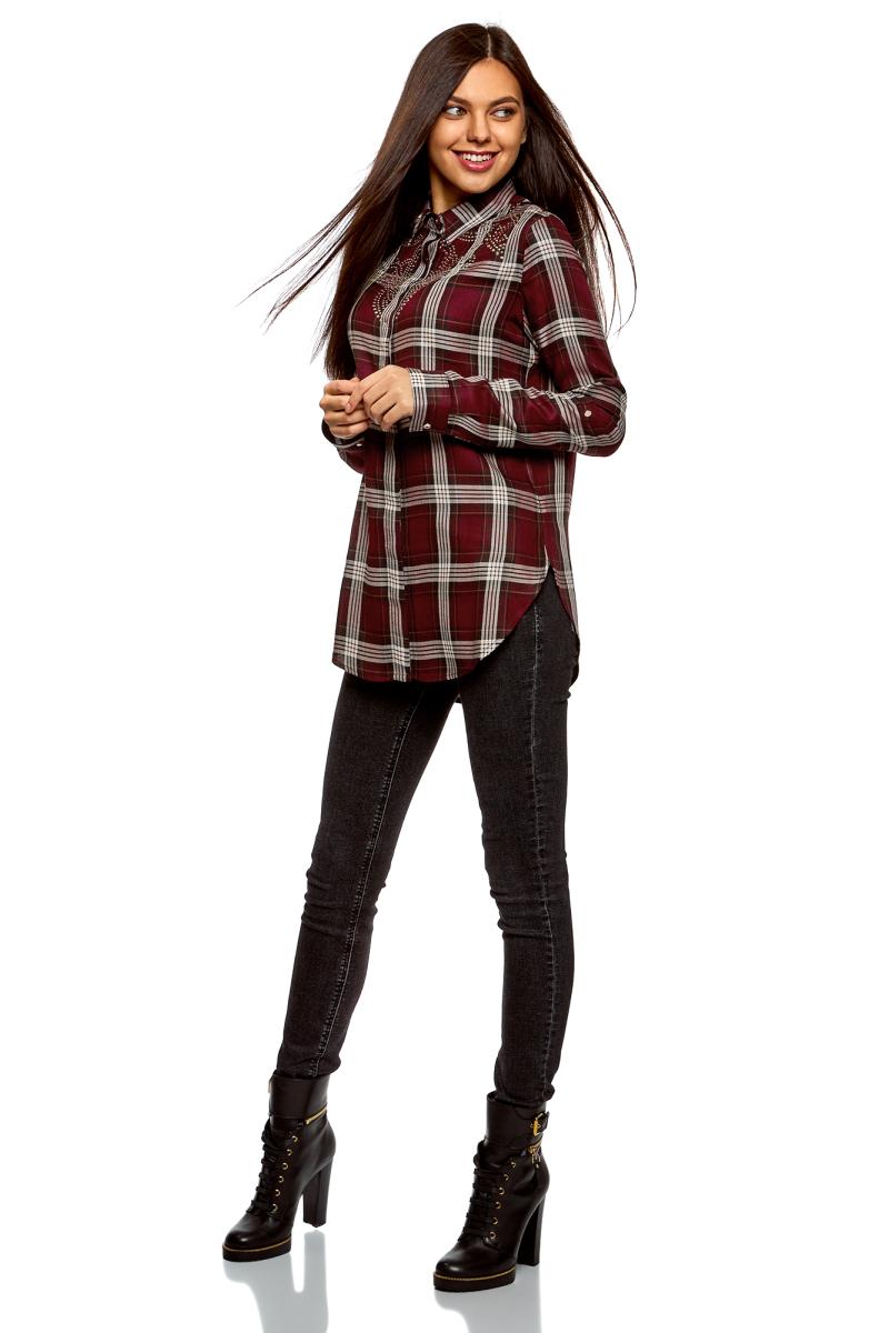 Блузка женская oodji Ultra, цвет: бордовый, кремовый. 13L11003/47353/4930C. Размер 44 (50-170)13L11003/47353/4930CЖенская блузка от oodji выполнена из натуральной вискозы. Модель с длинными рукавами и отложным воротником застегивается на пуговицы, скрытые под планкой. На груди блузка декорирована аппликацией из металлических страз.