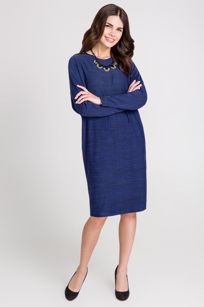 Платье Bestia Lataki_b, цвет: темно-синий. 40200200209_600. Размер XS (42)40200200209_600Свободное платье Bestia выполнено из эластичного меланжевого трикотажа, с небольшим мягким начесом на изнанке. Модель с круглым вырезом горловины и рукавами летучая мышь - прекрасный выбор на каждый день.