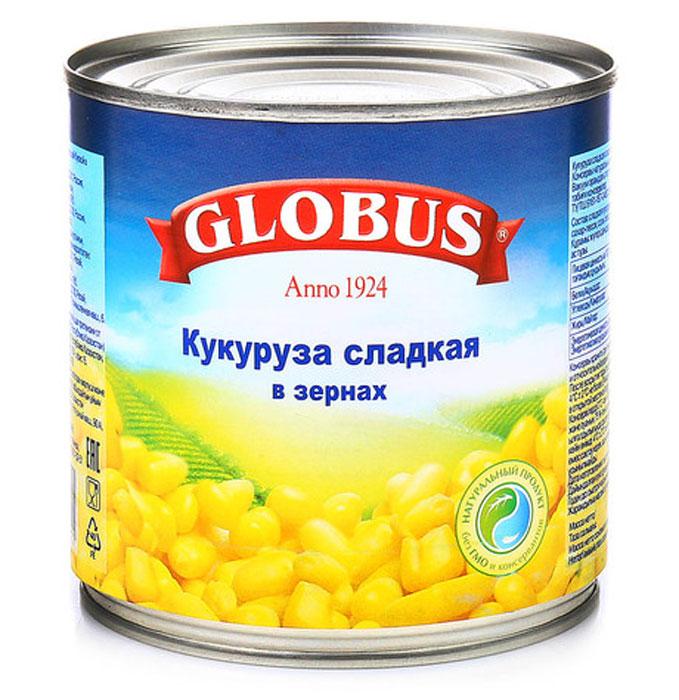 Globus кукуруза сладкая, 340 г4804Кукуруза в зернах Globus прекрасно сочетается с овощами, мясом, птицей, сыром, зеленью, яйцами, рисом и морепродуктами. Даже некоторые десерты содержат в своих рецептах консервированную кукурузу.Полезные свойства кукурузы. В организме людей, регулярно употребляющих консервированную кукурузу, увеличивается содержание магния, фолата и фолиевой кислоты. Эти микроэлементы хорошо укрепляют иммунитет и улучшают работу сердца.