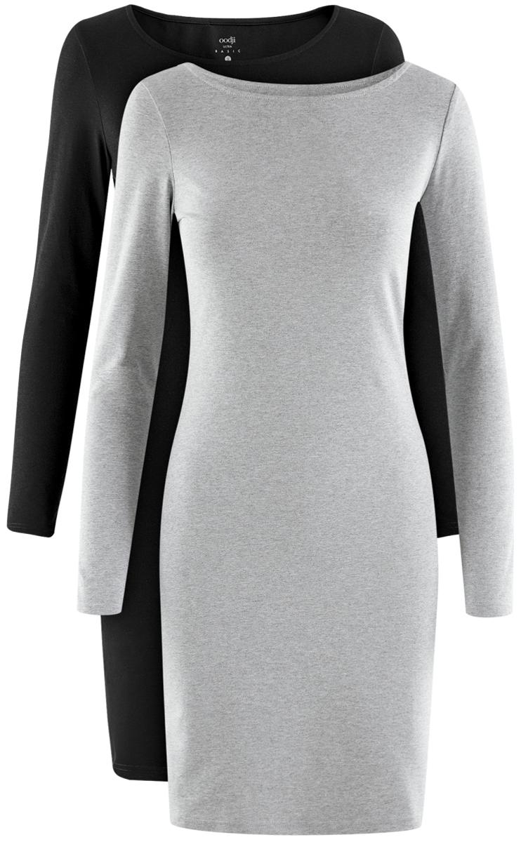 Платье oodji Ultra, цвет: черный, серый, 2 шт. 14001183T2/46148/19JAN. Размер XXS (40)14001183T2/46148/19JANСтильное платье от oodji выполнено из эластичного хлопкового трикотажа. Модель облегающего силуэта с длинными рукавами и круглым вырезом горловины.В комплекте два платья.